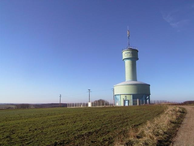 Water tower at the confluence point