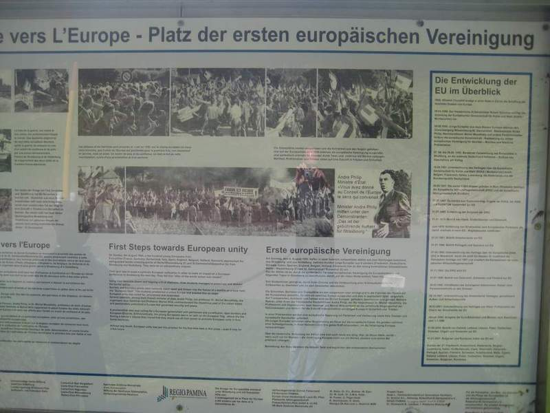 Information at memorial regarding European Union