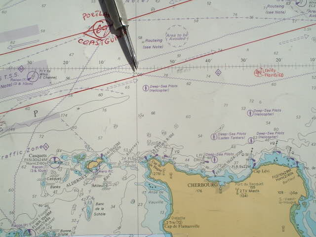 the confluence area on the sea chart