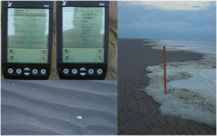 Seashore to SOUTH with GPS reading