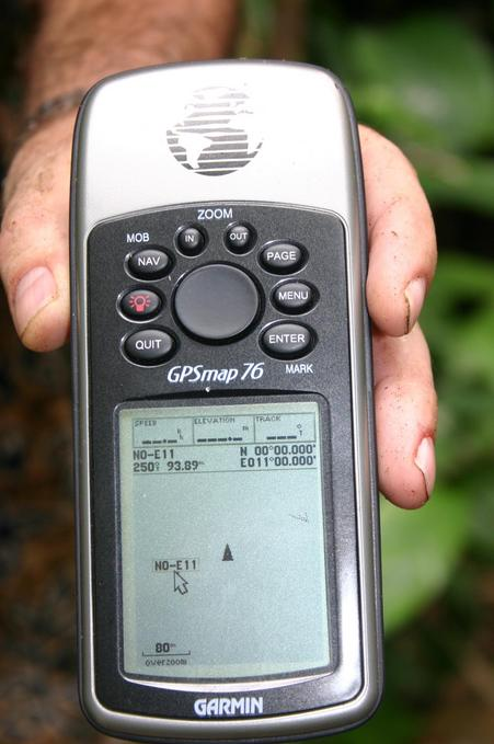 Another view of the GPS, showing distance at 94 meters