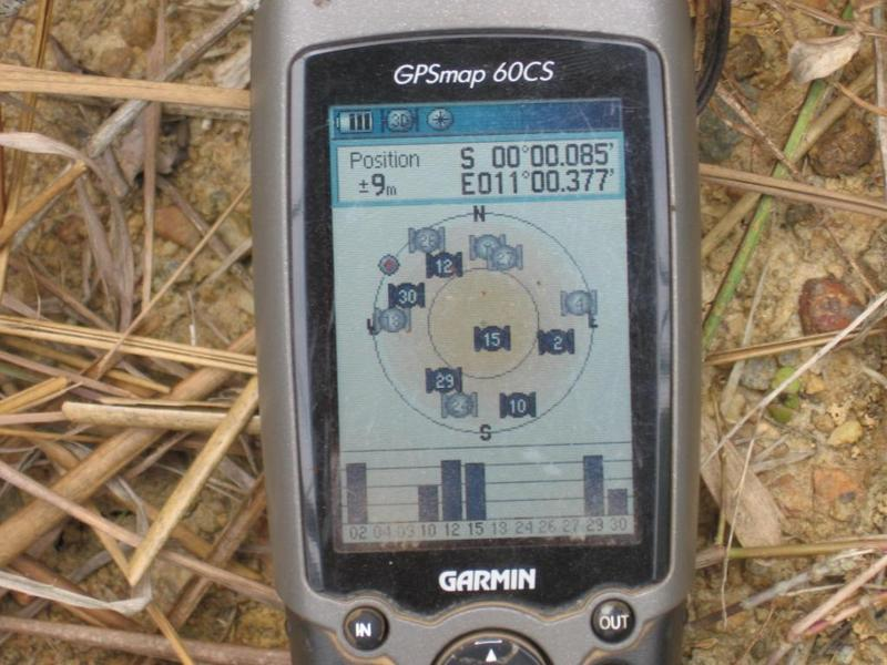 GPS at the road closest to the Confluence