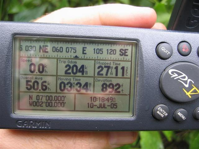 The GPS pinpoints the location.