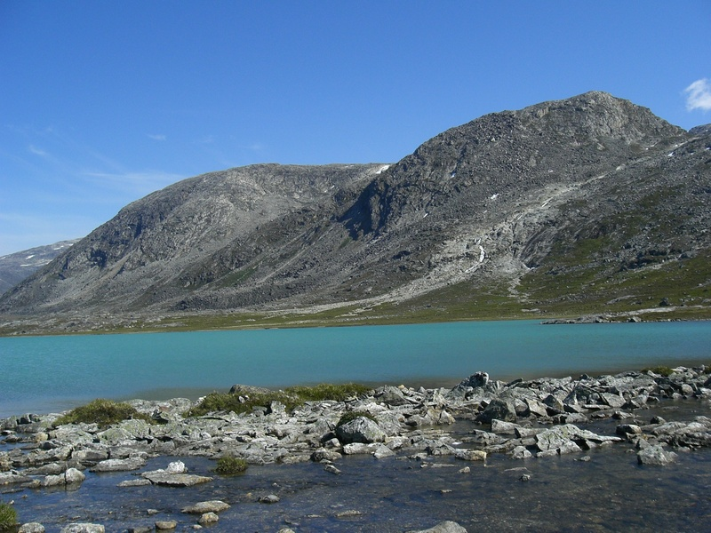 View NE over the first lake to the mountain ridge with CP
