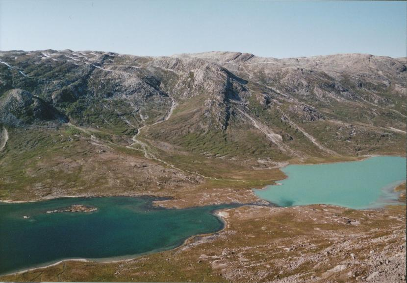View NW over the lakes - one with, the other without glacier water