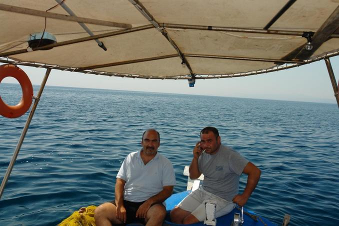 George (left) and capt. Michalis, on the confluence