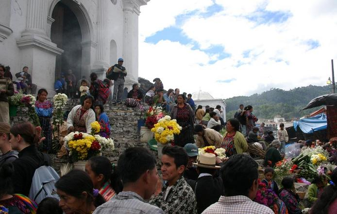 The indigena market in Chichicastenango, 12 km from the confluence point.
