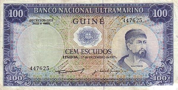 Nuno Tristão on an old banknote of Portuguese Guinea