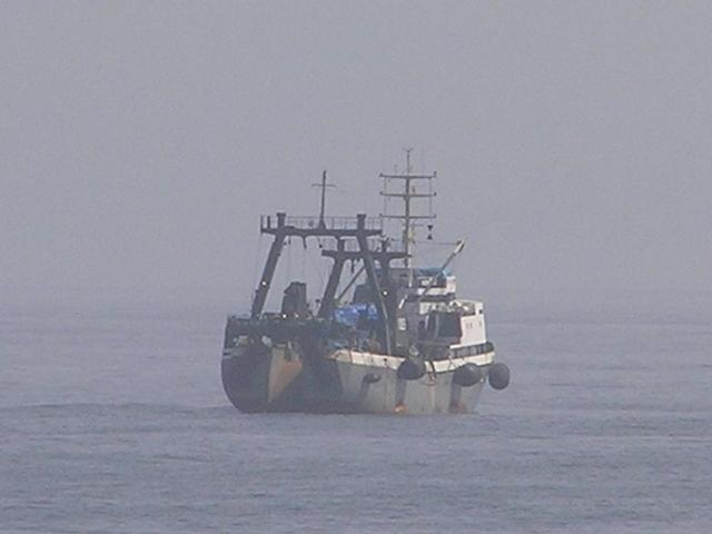 The fishing net is recovered via a stern ramp
