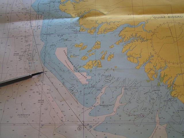 The area on the British Admiralty chart