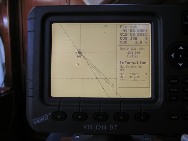 Vision C-Map Plotter: Waypoint (confluence) reached