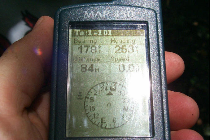 GPS showing 84 meters to target.