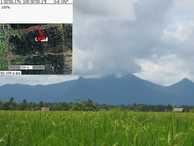 GPS reading and view to Poteng Mountain in the South