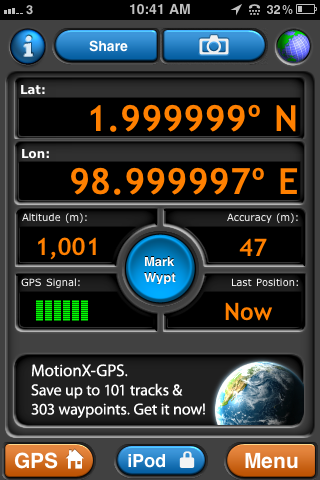 GPS screenshot at the confluence