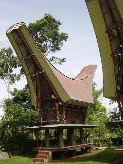Toraja architecture rice barn near confluence