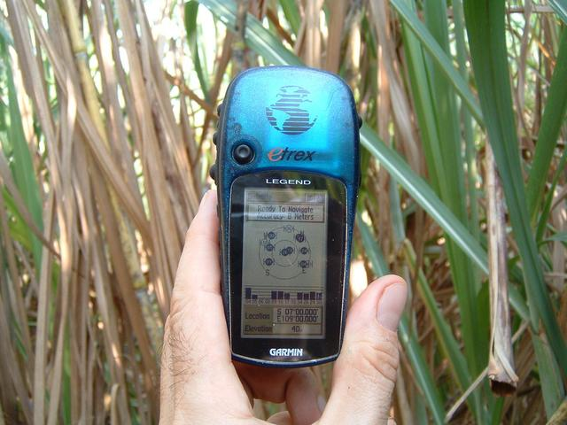 Closeup of GPS receiver with coordinates