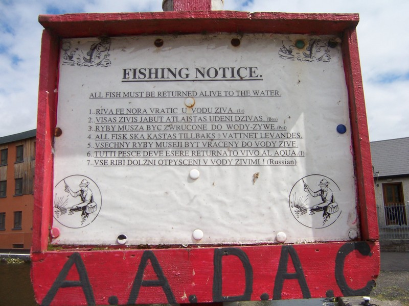 Fishing notice, in eight languages