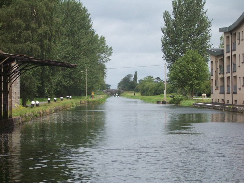 Another canal view, with: man walking dog, boat, and two horses