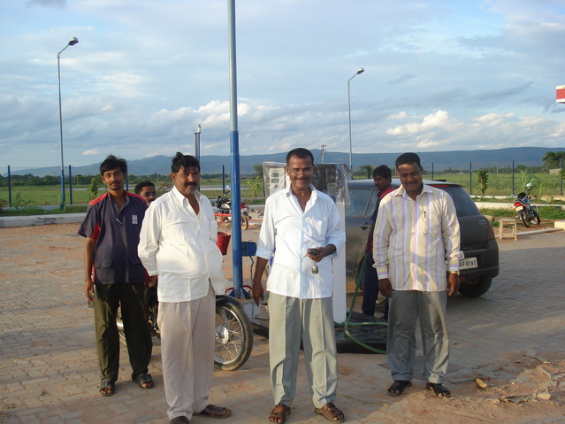 With Petrol Pump staff @ Porumamilla