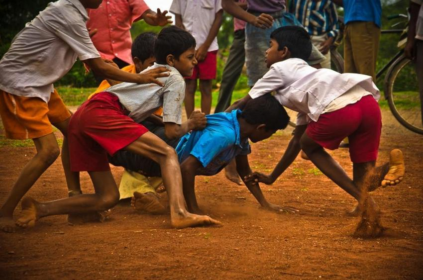 Village Children playing Traditional Indian Sport - Kabaddi