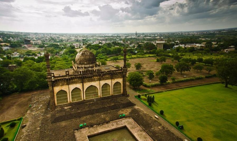 The city of Bijapur, Shot from top of Gol Gumbaz.