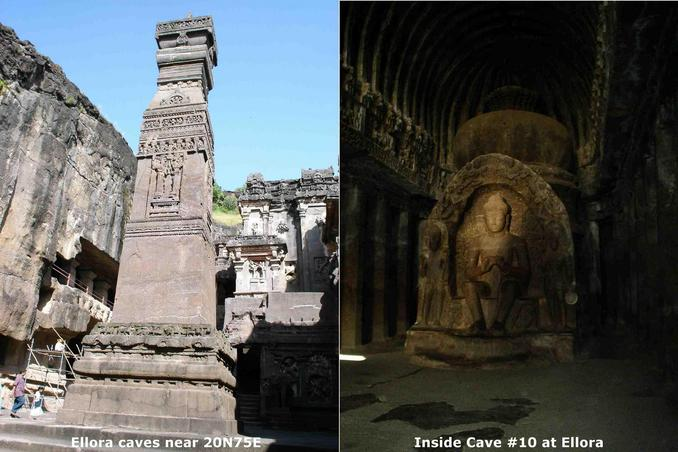 Ellora caves near 20N75E