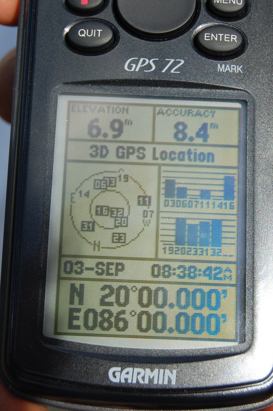 View of the GPS  Co-ordinates