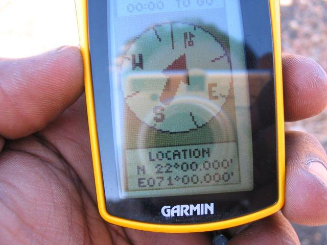 GPS Reading at CP 22°N 71°E