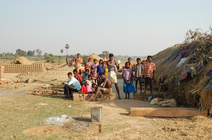 Clay brick makers at the river bank