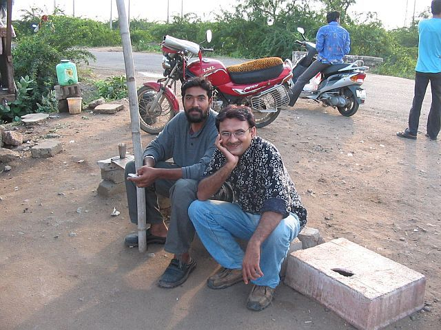 Refreshing at a road side tea stall before the venture