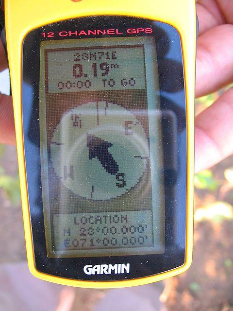 GPS Reading at CP 23°N 71°E