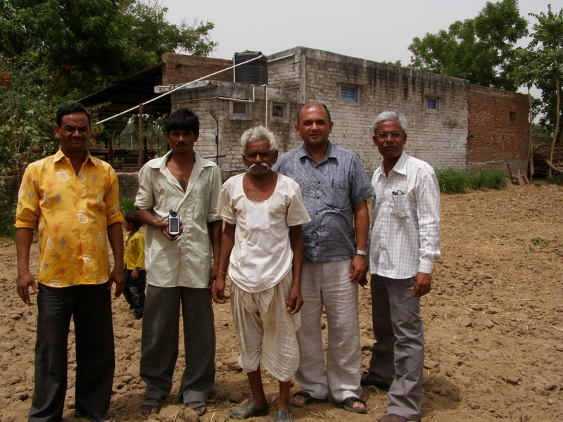 Left to Right: Mukeshbhai Rawal from the health center; Kanuji Talji Thakkar (land owner); Talji Thakkar (father of owner); Vikram Mistry; Harshad Mistry
