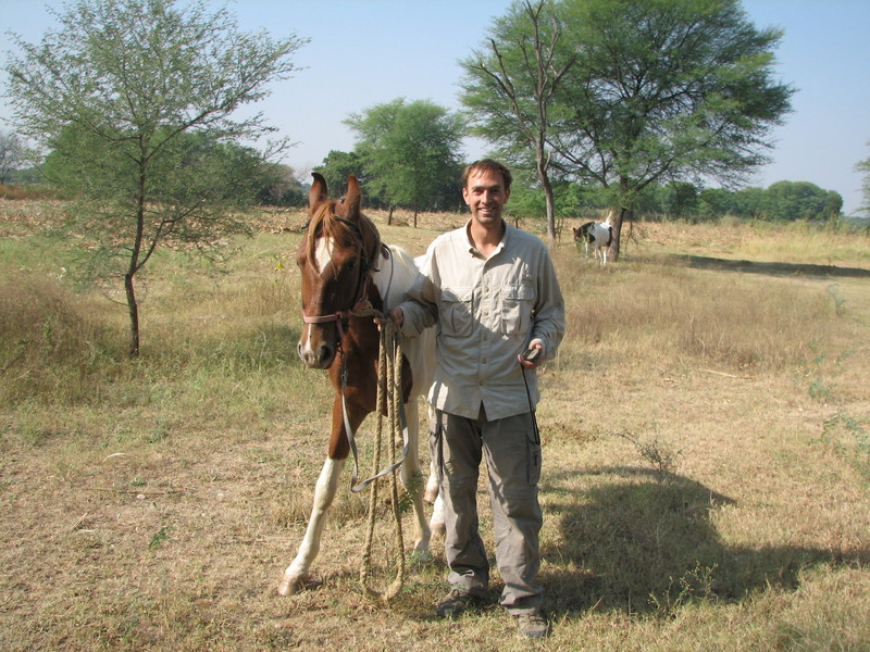 The author at the confluence site with Veejay's horse.
