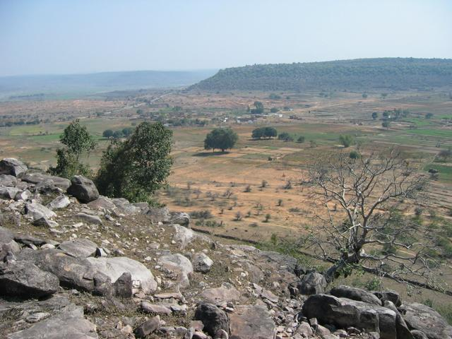 The view from the top of the hill.  The rickshaw is parked along the road, visible in the upper left of the photo.