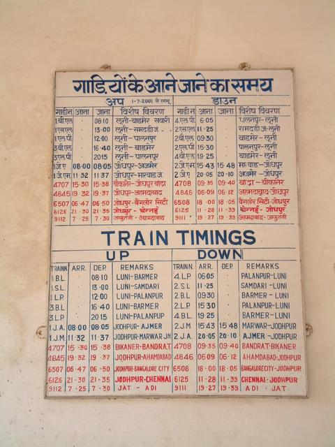 Time-table at the station