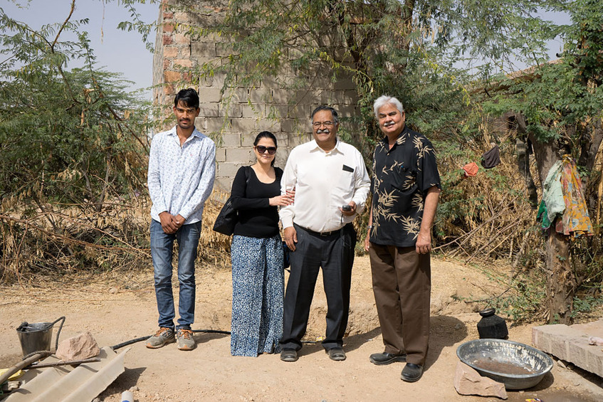 At the Confluence: A Luni resident, Vandana and Alok Tyagi, Dinesh Joshi