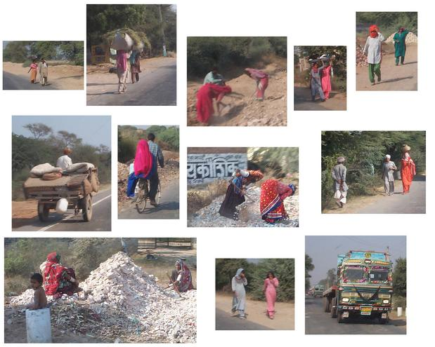 A montage of villagers, walking and working within 5 km of the confluence