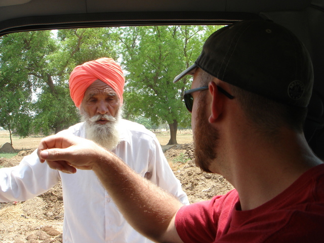 Asking directions from a local Punjabi farmer