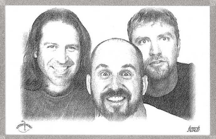Warren, Doug, and Sam, courtesy of the Portrait Studio Machine on the drive home
