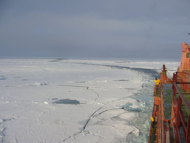 Zig-zag course of the ship through the ice