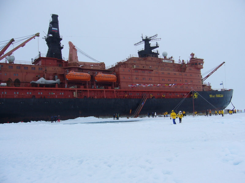 Our ice breaker moored on the ice during the North Pole party