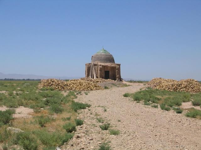 A small Imāmzādeh (memorial grave) 3 km west of the point
