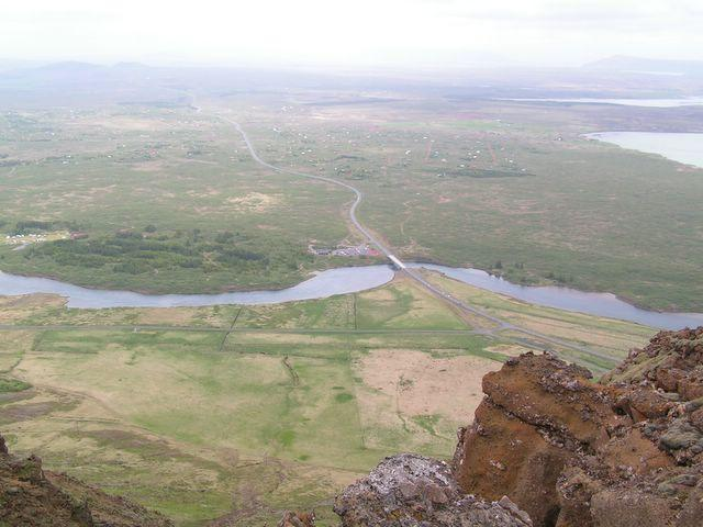 View from the ridge with Þrastalundur in the center
