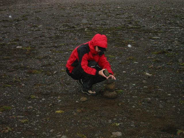 Nick building a cairn