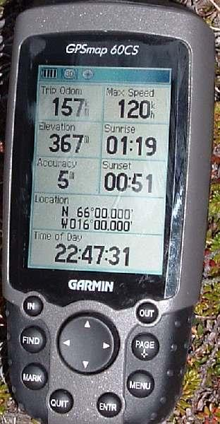 The GPS , note the sunset and sunrise times!