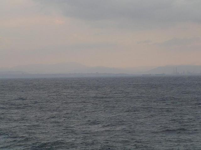 View to ENE towards Gela, at right the refinery of the petroleum harbor