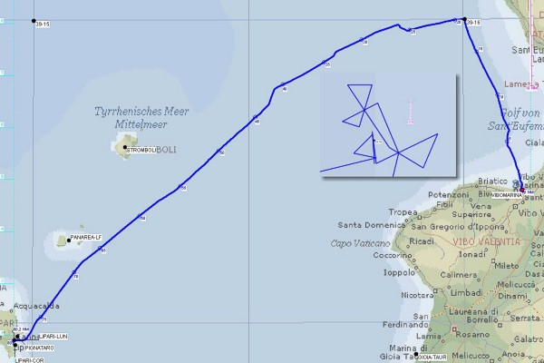 The track log of our first sailing day (with detailed log of the confluence point approaches)