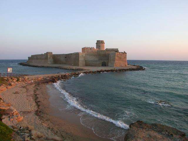 Castle Le Castella, several kilometers south of the confluence.
