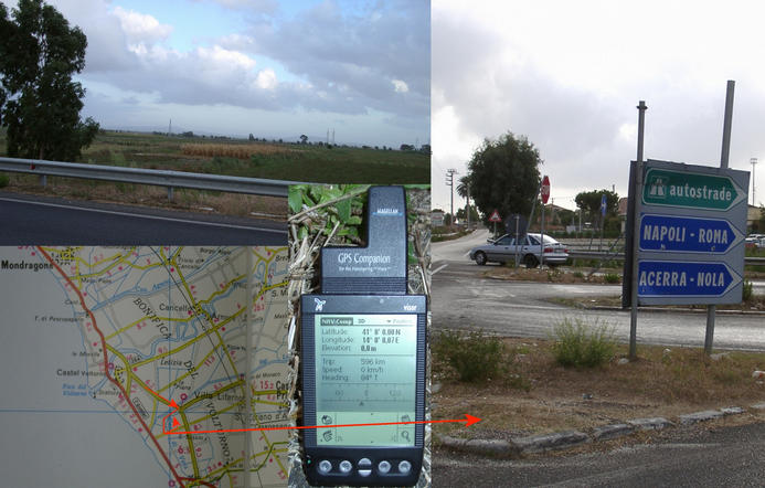 Highway exit ramp, map and GPS reading