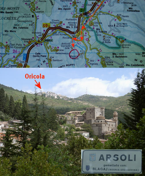 Arsoli and the map showing the approach